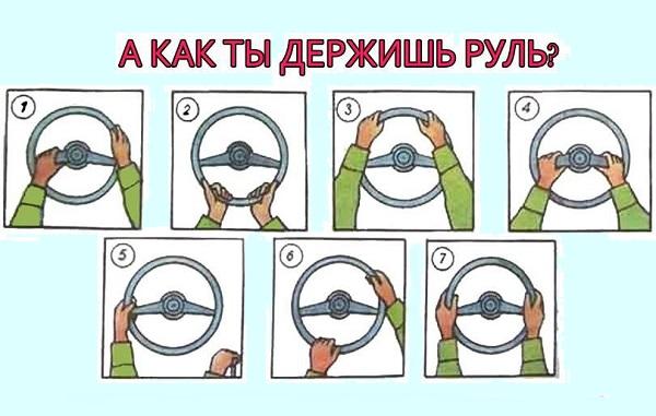 Тест для водителей. Выбери своё положение рук и узнай какой ты водитель.